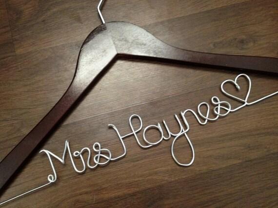 Wedding Dress Hanger Bride Hanger Last Name Hanger By