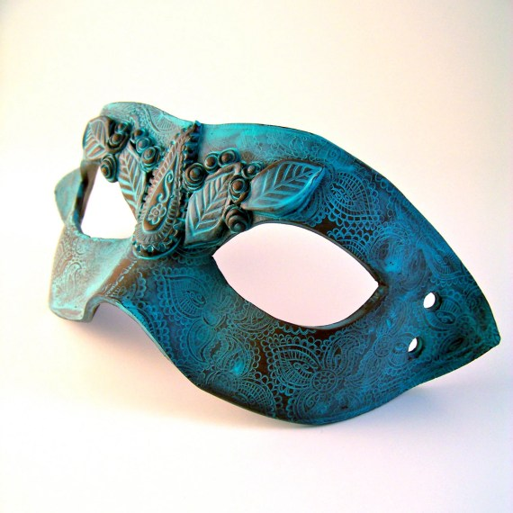 "Polymer Clay Mask: Verdigris Patina, Leaves, Paisley,  Vegan ""Leather"" - WingsOfClay"