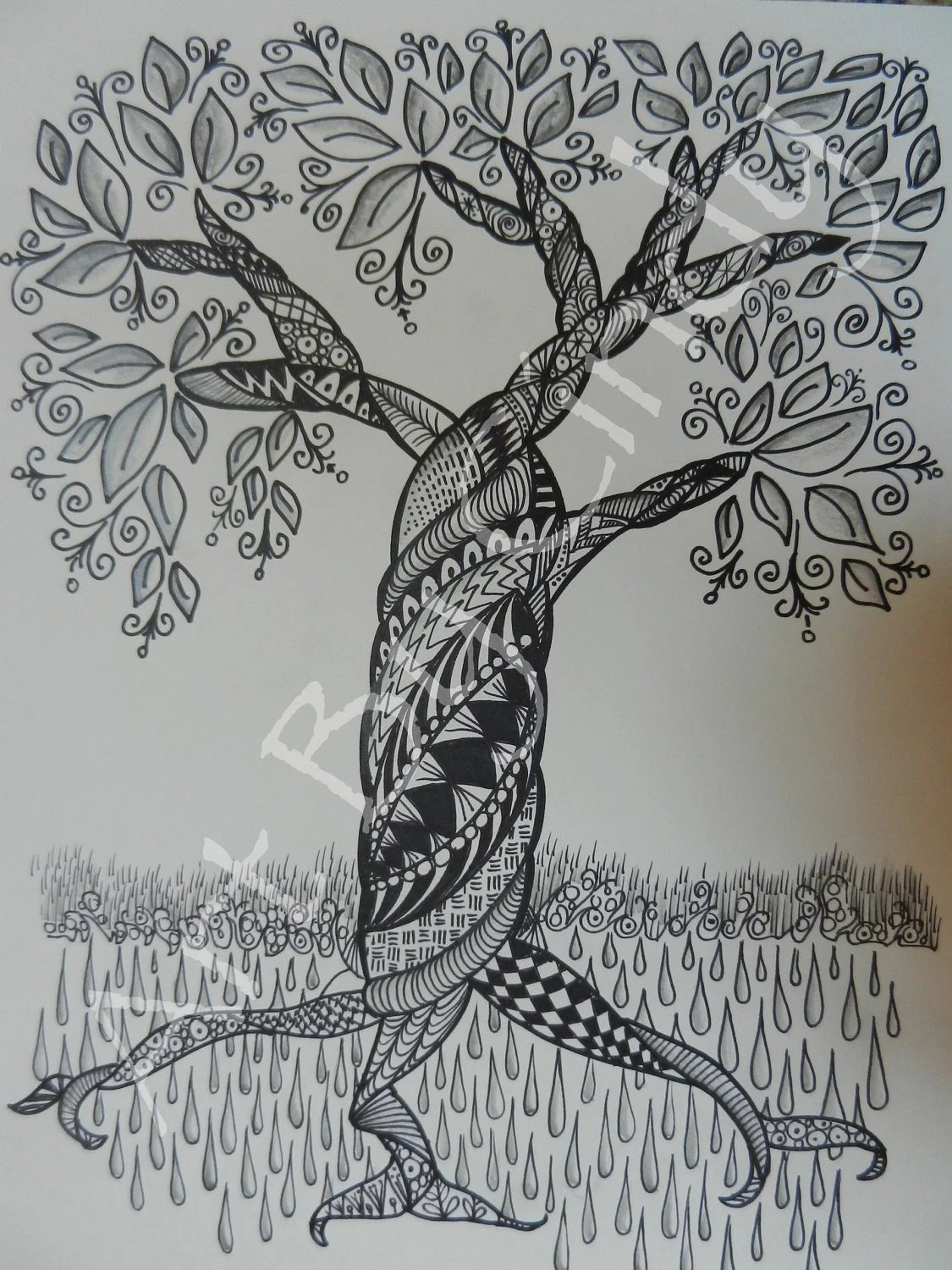 Items Similar To Zentangle Tree On Etsy