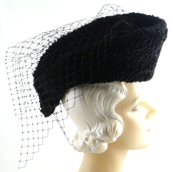 Reproduction Gypsy Rose Lee Black Boucle Curve Hat and Veil 1930s Hat - HatArtists