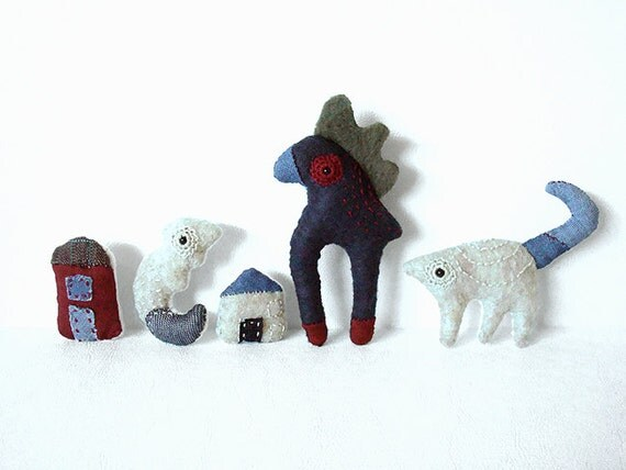 Plush Pin Brooch Felt Fabric Navy Blue Hand Embroidered Funky Folk BRONSON the Bird Creature