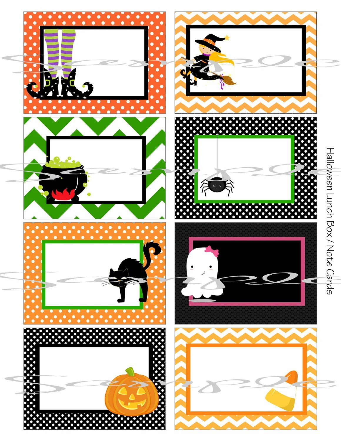 Instant Download Halloween School Lunch Box Blank Note Cards
