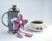 PINK FLOWER French Coffee Press Coffee Cozy - DenizasDecor