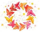 Watercolor Butterflies Illustration No. 6 - Fine Art Painting Nursery Art Baby Print - Mysoulfly