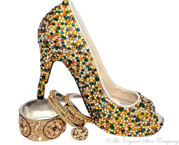 Swarovski Crystal Encrusted Wedding bridal gold green emerald peeptoe heels - TheCrystalShoeCo