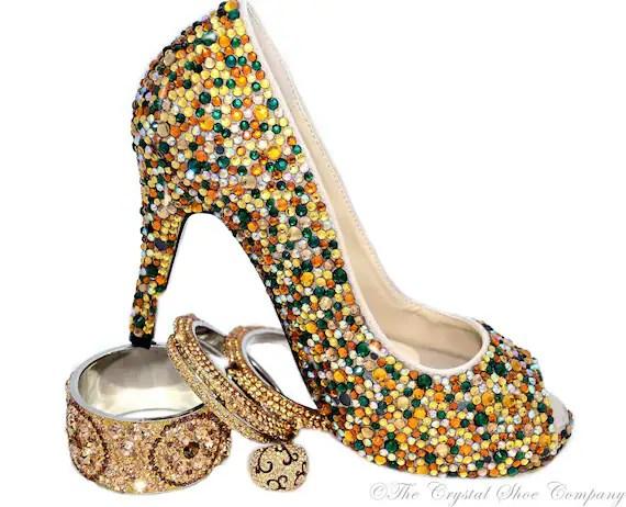 Swarovski Crystal Encrusted Wedding bridal gold green emerald peeptoe heels - TheCrystalShoeCo