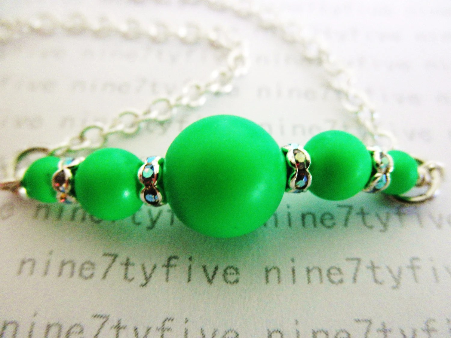 NEON green swarovski crystal pearls necklace - nine7tyfive