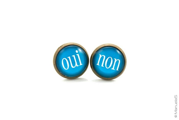 Oui & Non Bright blue - Post Stud EARRINGS - ManuelaS