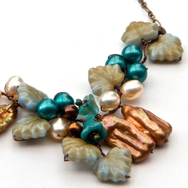 Teal Brown Statement Necklace, Beaded Necklace, Flower Necklace, Nature Jewelry - CherylParrottJewelry