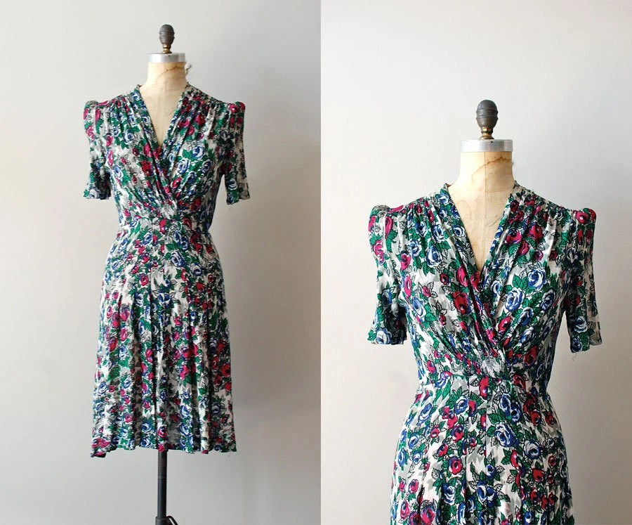 1940's rayon print tea dress style fashion vintage clothing dewvintage dew