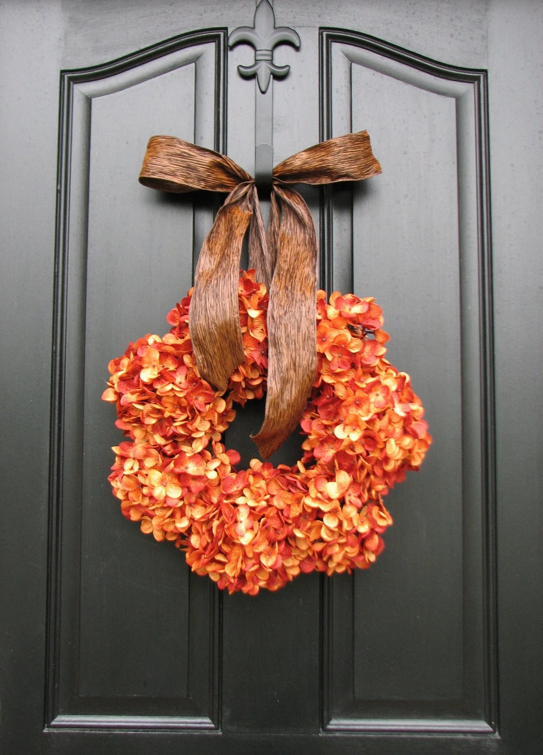 Pumpkin Pie Thanksgiving Wreath Fall Hydrangeas By Twoinspireyou