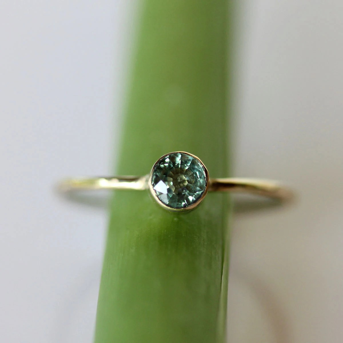 Green Sapphire 14K Gold Ring Gemstone RIng Stacking RIng
