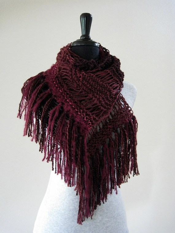 Garnet Star Handknitted Lacy Scarf with Fringes - KnitsomeStudio