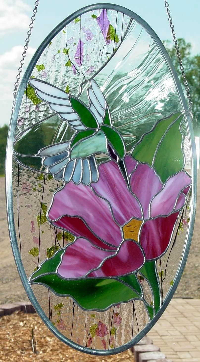 Hummingbird And Flower Stained Glass Panel Suncatcher By