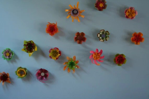 Recycled Plastic Wall Flowers (set of 5), indoor or outdoor use, photo props