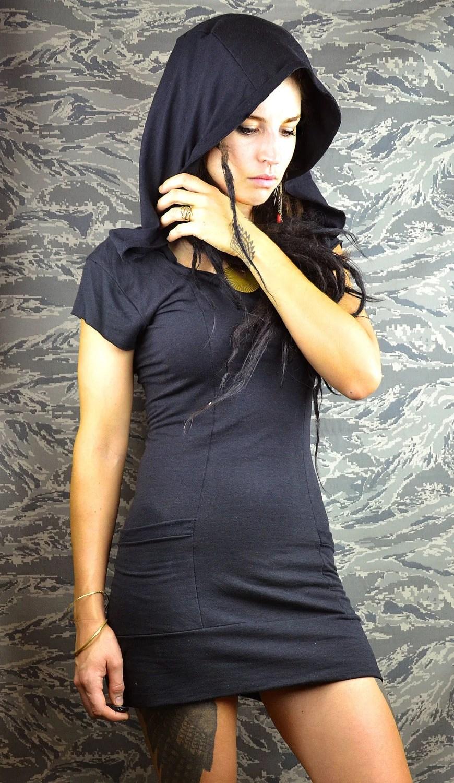 Organic princess seam hooded black sweatshirt pocket dress handmade bamboo made to order