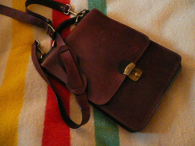 Beautiful Thick Leather Writers Shoulder Bag with Leather interior