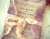 Invitations Pale Purple Doily, Orchid Tea stained Ribbon Wedding, Shower, Tea - ShabbyScrap