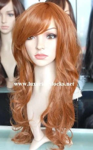 Ophelia Beautiful Long Ginger Red Wig With Side Bang By