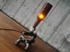 Industrial Bottle Lighting - Man Cave - Table Lamp Furniture - Antique Beer