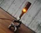 Industrial Bottle Lighting - Man Cave - Table Lamp Furniture - Antique Beer