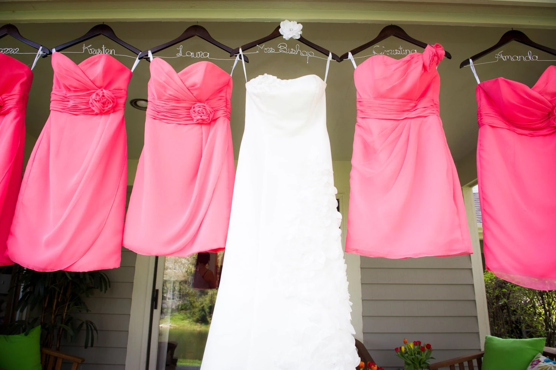 SET Of 6 Wedding Dress Hangers Bridesmaid Hangers Bride