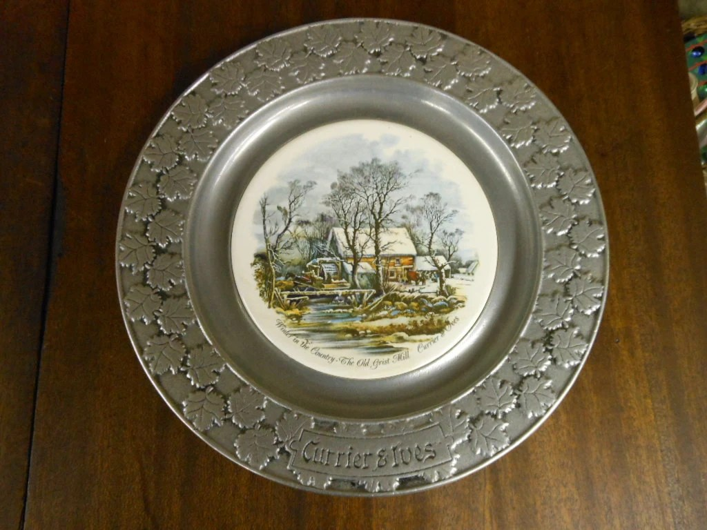 CURRIER Amp IVES PEWTER Decorating Plate Winter Scene By Carson