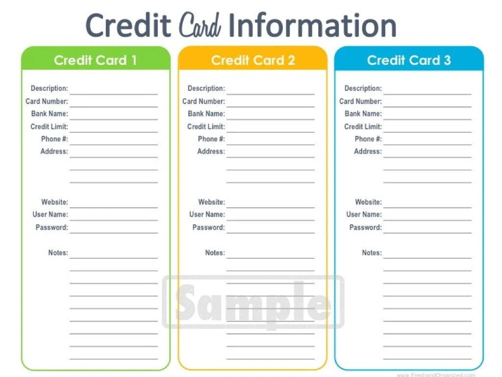 Credit Card Information Printable Editable By