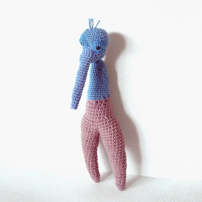 Soft Sculpture Art Doll Crochet Creature Blue Hand Sculpted ELERI the Elephant Creature