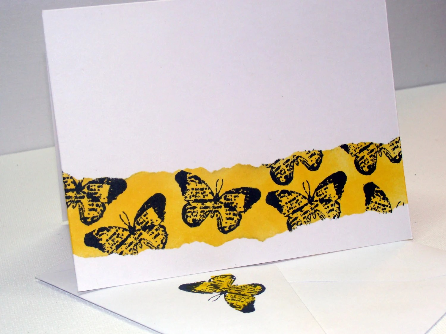 Blank Note Card - Dandelion Yellow Distressed Ink - Matching Envelope