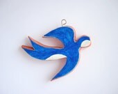 Bird wall decor - blue swallow - minimal wall hanging - FishesMakeWishesHome