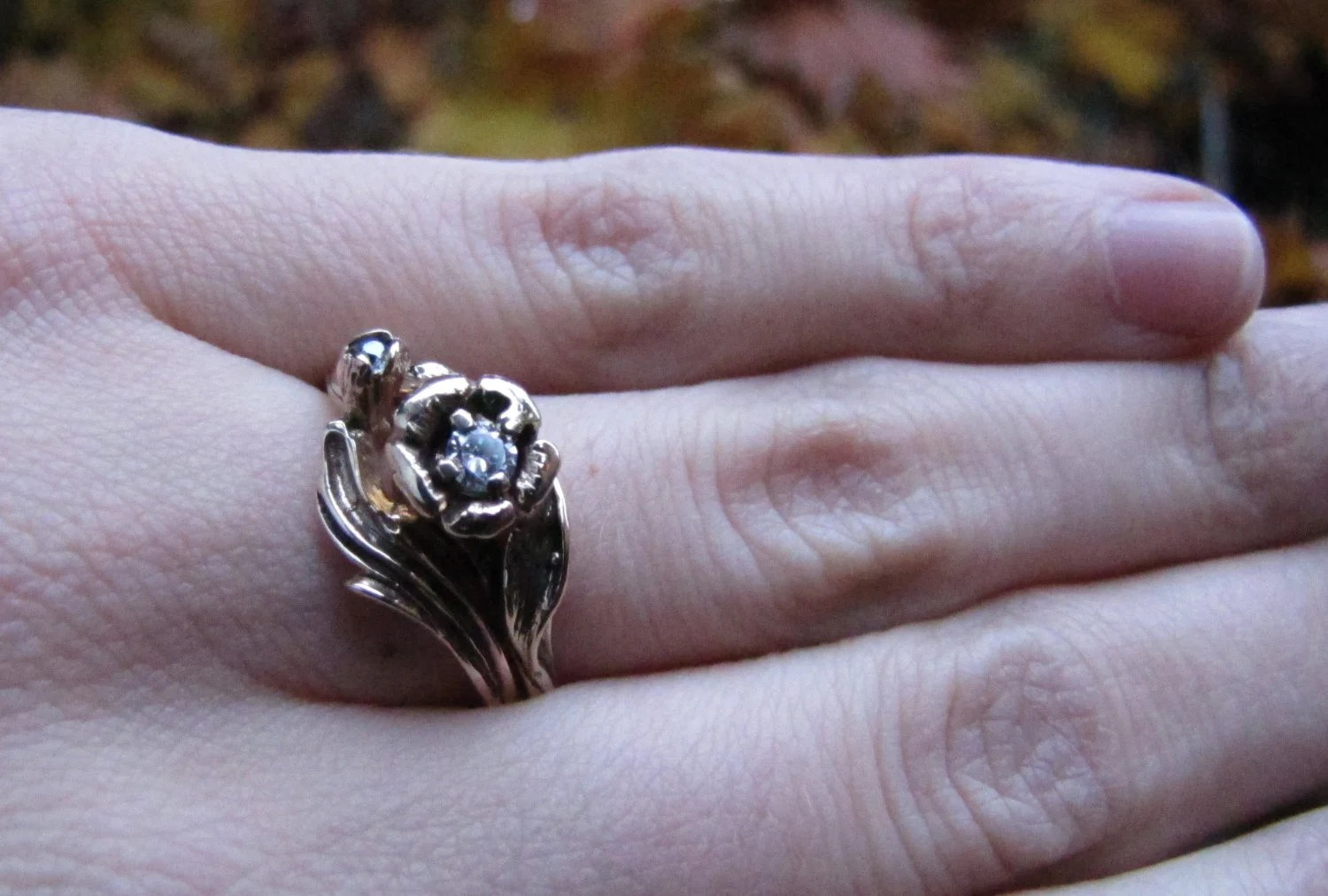 Golden Rose Diamond And White Gold Vintage Engagement Ring