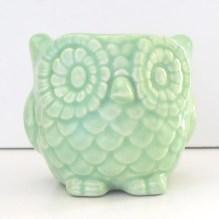 Ceramic Mini Owl Desk Planter Vintage Design in Celadon - fruitflypie