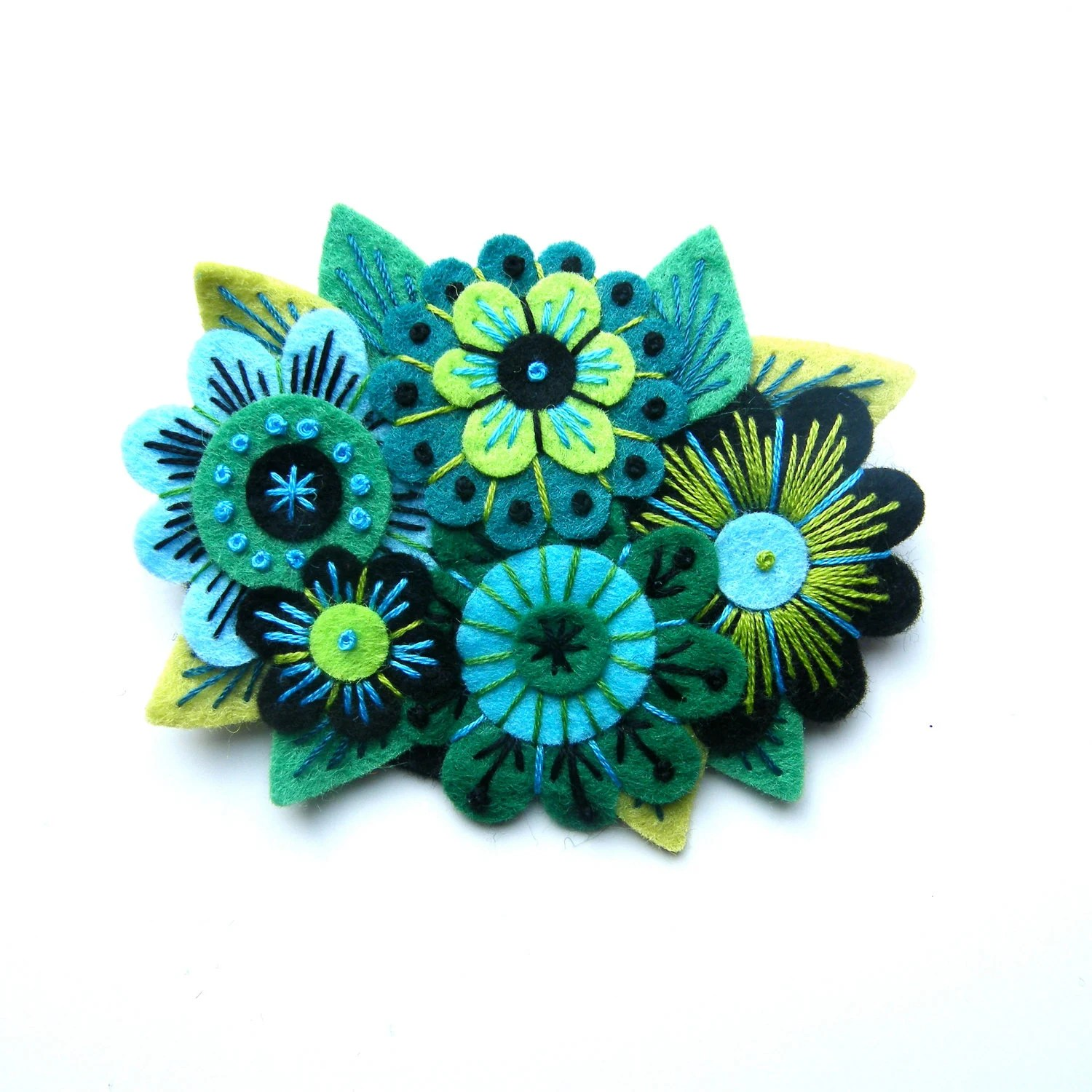 Vintage Bouquet felt flower brooch with freeform hand embroidery