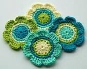 Crochet Applique Flowers - Blue and Green - AnnieDesign