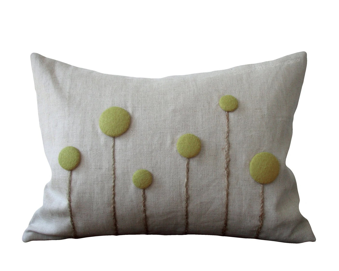 Sage Green Billy Ball Flower Pillow in Natural Linen by JillianReneDecor Billy Button Botanical Spring Home Decor Woodland Craspedia - JillianReneDecor