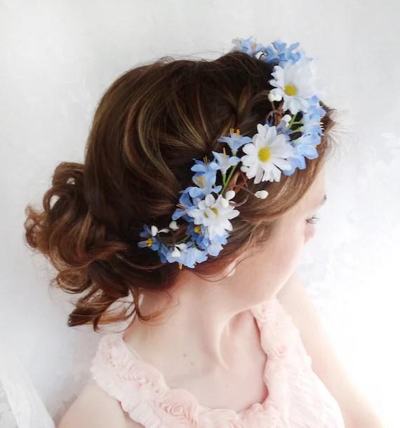 Items Similar To Blue Flower Head Wreath Bridal Hair