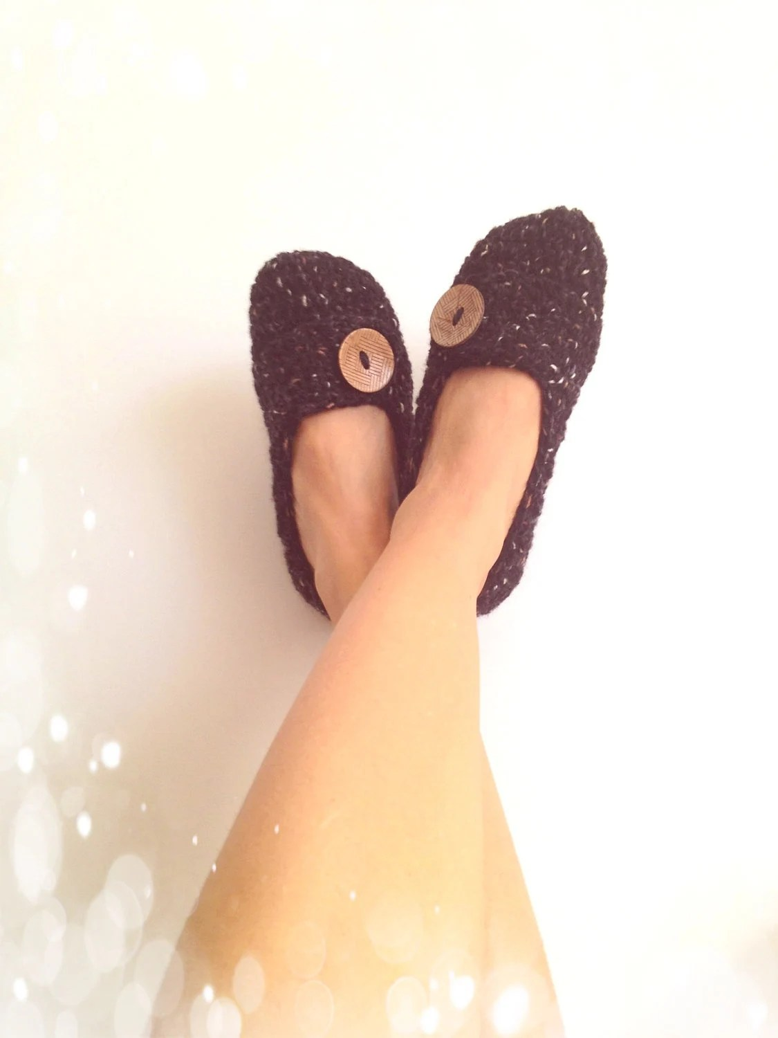Black  brown Tweed with Natural Button Crochet Womens Slippers, Ballet Flats, House Shoes - cookieletta