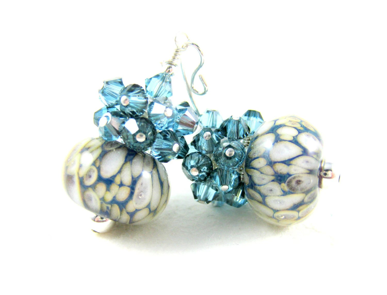 Blue White Glass Earrings, Cerulean Blue White Boro Earrings, Blue Earrings, Lampwork Earrings - Snow & Ice - GlassRiverJewelry
