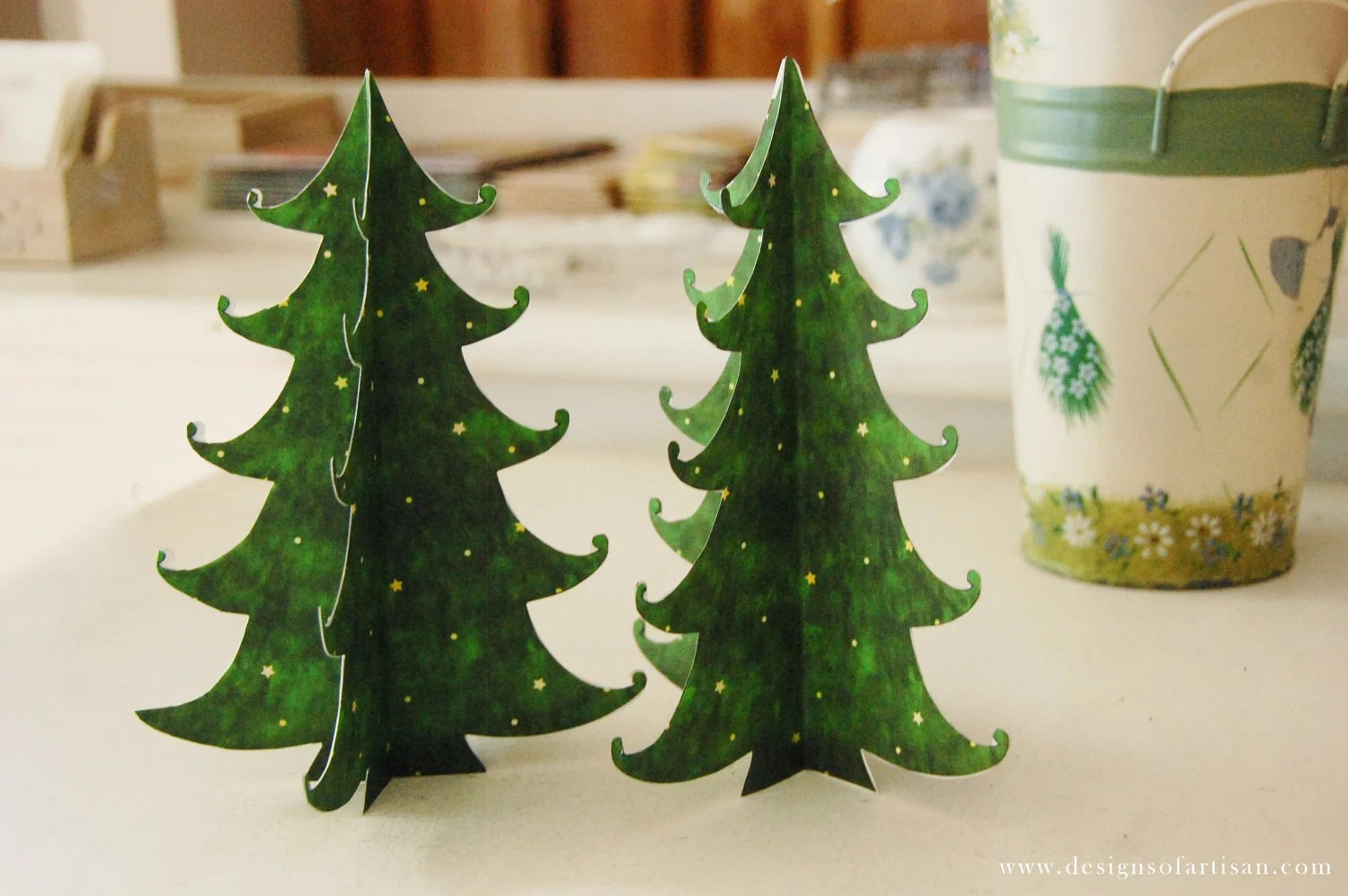 Printable Paper Green Christmas Tree By Artisanpaperie On Etsy