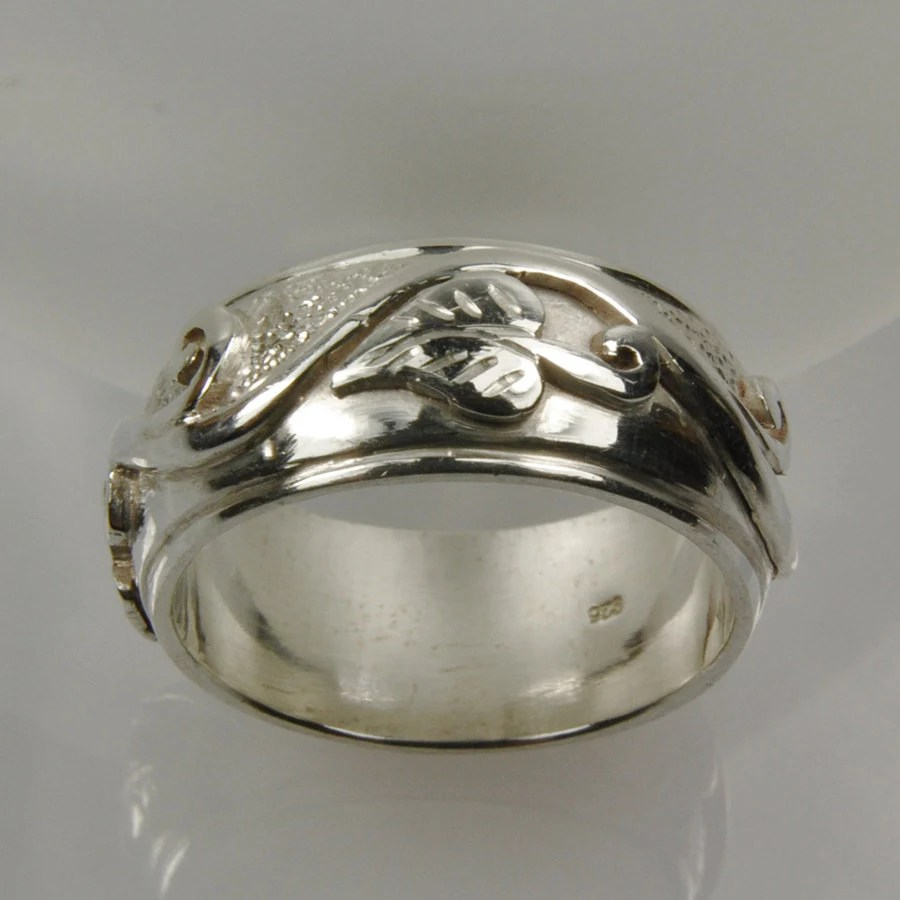 Items Similar To Vine Leaf Ring Wide Sterling Silver Band