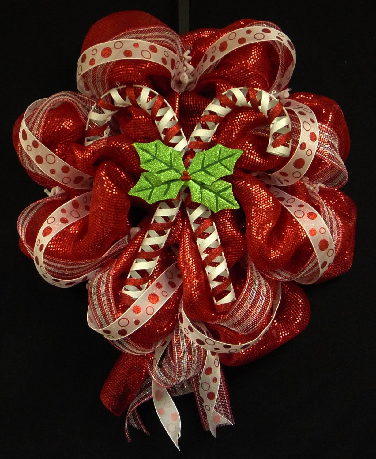 Candy Cane Wreath Christmas Wreath Red White Wreaths Poly