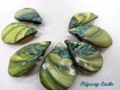 Shell Teardrop Pendant Fan Beads - Olive Green & Teal - OdysseyCache