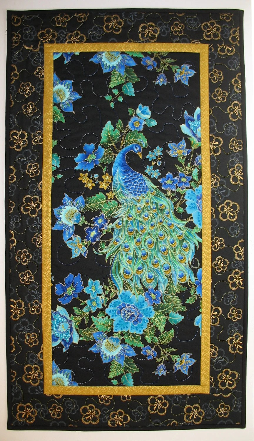 Peacock Quilted Wall Art In Timeless Treasure By