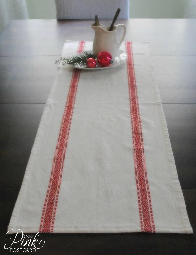 Farmhouse Table Runner Scandinavian Stripe White With Red