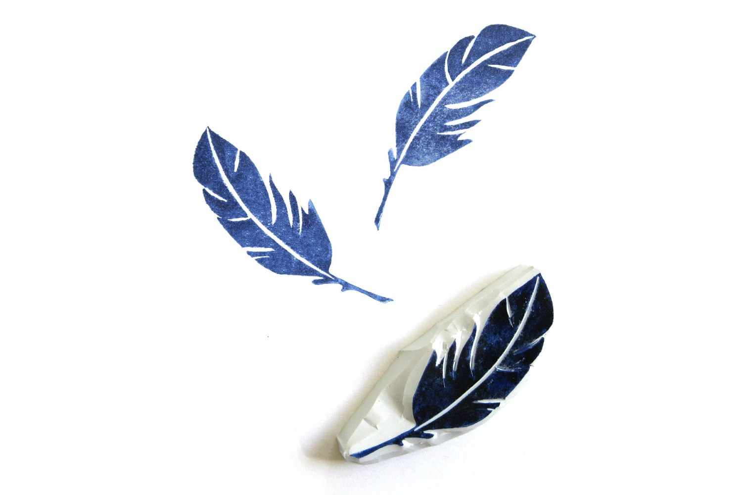 Feather Hand Carved Rubber Stamp - SweetSpotStampShop