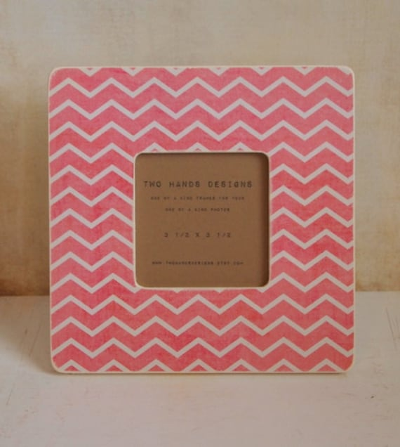 Pink Chevron Wood Picture Frame