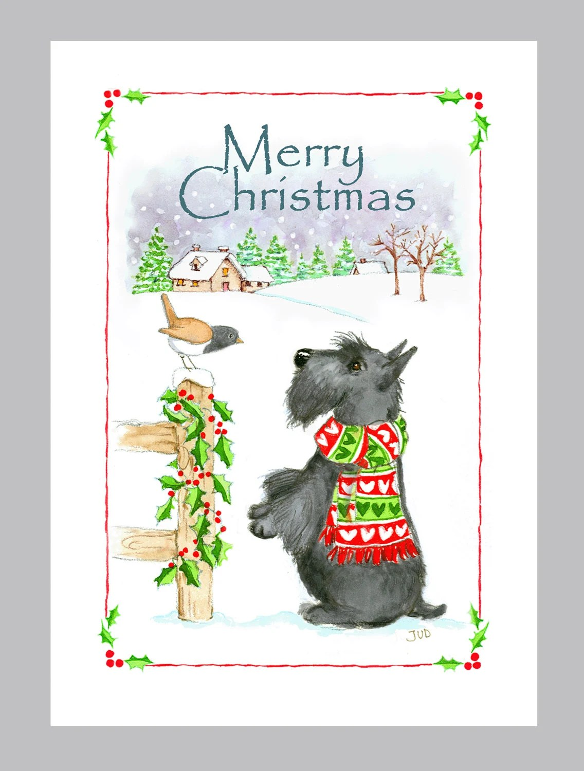 Scottish Terrier Christmas Cards Box Of 16 Cards Amp Envelopes