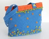 Jean Shoulder Bag in Blue, Green, Orange Polka Dot Crochet Flower Bohemian Chic Hippie Boho Gypsy Style Fashion - PinaraDesign