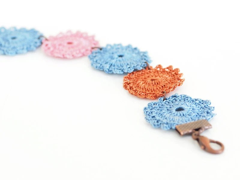 Crochet Lace Boho Chic Bracelet in Blue, Pink, Burnt Orange Hippie Boho Gypsy Style Jewelry Circle Flower Lace Doily - PinaraDesign